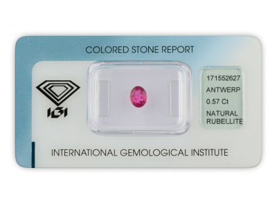 rubelit 0.57ct pinkish purple s IGI certifikátem