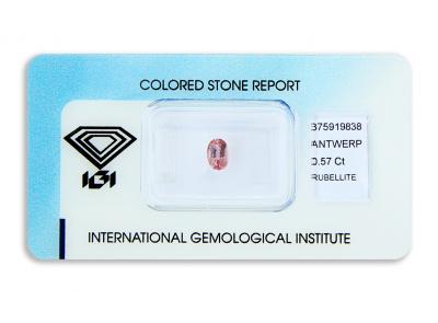 rubelit 0.57ct purplish pink s IGI certifikátem