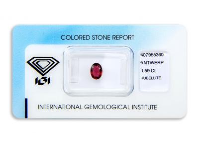 rubelit 0.59ct purplish pink s IGI certifikátem