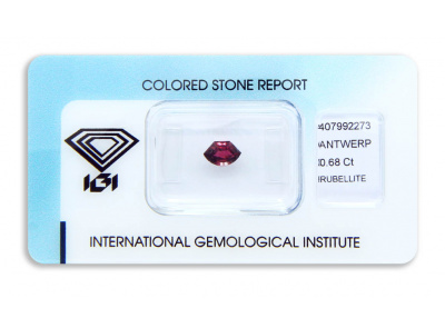 rubelit 0.68ct deep purplish pink s IGI certifikátem