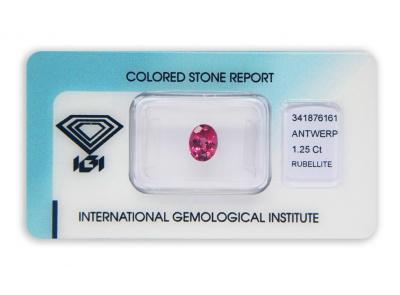 rubelit 1.25ct purplish pink s IGI certifikátem