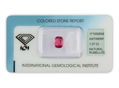 rubelit 1.37ct pinkish purple s IGI certifikátem