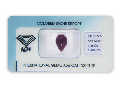 rubelit 3.88ct reddish purple s IGI certifikátem