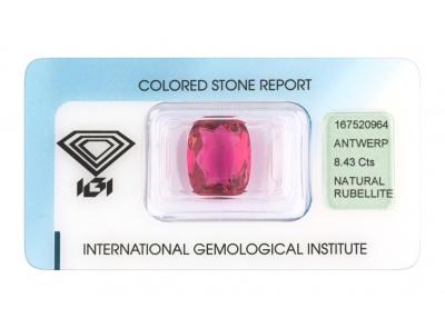 rubelit 8.43ct purplish pink s IGI certifikátem