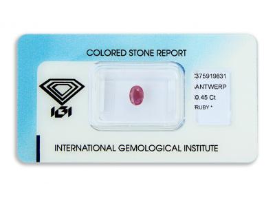 rubín 0.45ct purplish red s IGI certifikátem