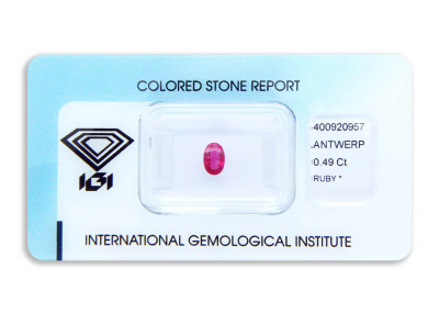 rubín 0.49ct deep purplish pink-red s IGI certifikátem