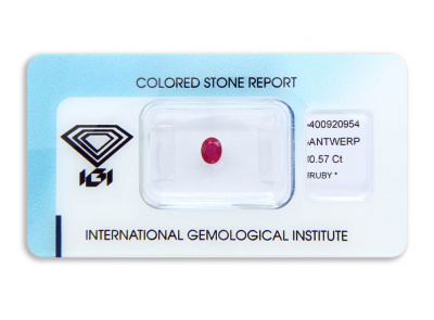 rubín 0.57ct deep purplish pink-red s IGI certifikátem