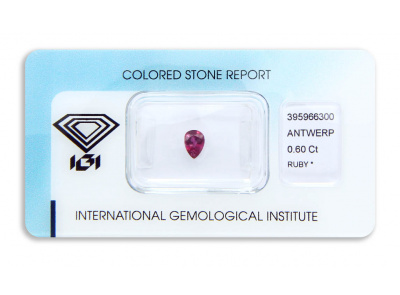 rubín 0.60ct purplish pink-red s IGI certifikátem