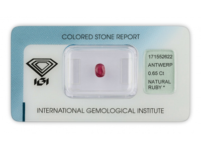 rubín 0.65ct red s IGI certifikátem