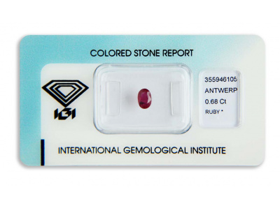 rubín 0.68ct deep purple-red s IGI certifikátem