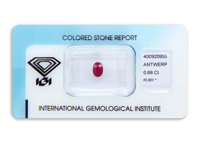 rubín 0.68ct deep purplish red s IGI certifikátem