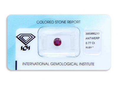 rubín 0.77ct deep purplish pink-red s IGI certifikátem