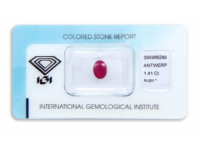 rubín 1.41ct deep purplish pink-red s IGI certifikátem