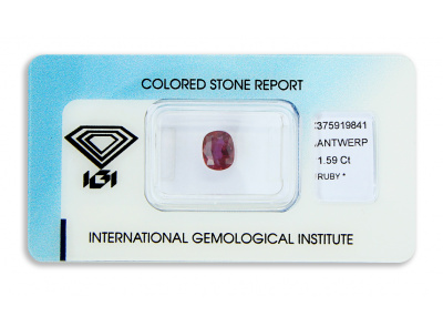 rubín 1.59ct deep purplish red s IGI certifikátem