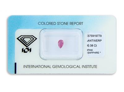 safír 0.38ct purplish pink s IGI certifikátem