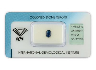 safír 0.42ct blue s IGI certifikátem