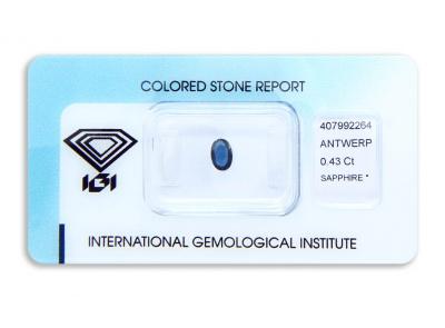 safír 0.43ct blue s IGI certifikátem