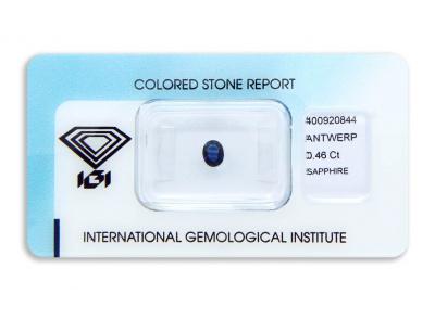 safír 0.46ct deep blue (tepelně neupraven) s IGI certifikátem