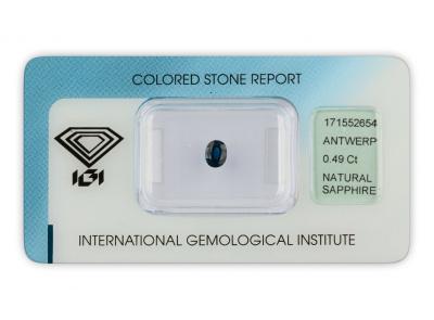safír 0.49ct blue s IGI certifikátem