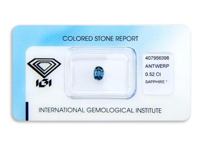 safír 0.52ct blue s IGI certifikátem
