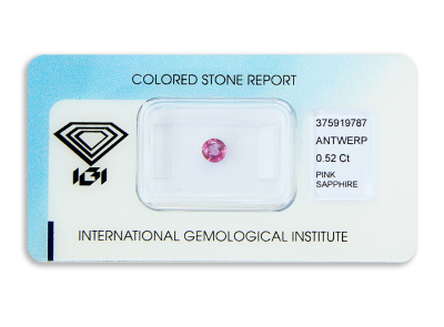 safír 0.52ct purplish pink (tepelně neupraven) s IGI certifikátem