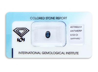 safír 0.53ct deep blue s IGI certifikátem