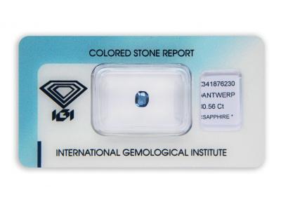 safír 0.56ct blue s IGI certifikátem