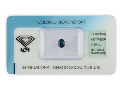 safír 0.59ct blue s IGI certifikátem