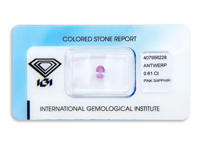 safír 0.61ct purplish pink (tepelně neupraven) s IGI certifikátem