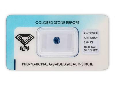 safír 0.64ct deep blue (tepelně neupraven) s IGI certifikátem