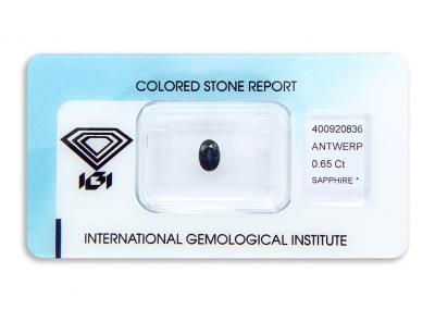 safír 0.65ct deep blue (tepelně neupraven) s IGI certifikátem