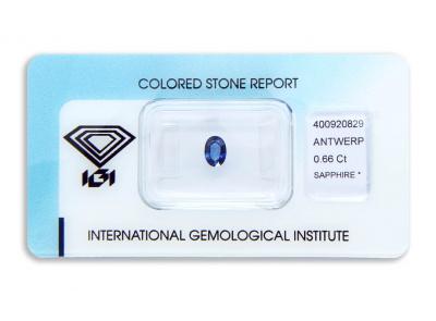 safír 0.66ct blue s IGI certifikátem