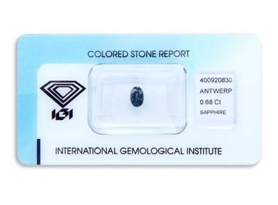 safír 0.68ct deep blue (tepelně neupraven) s IGI certifikátem