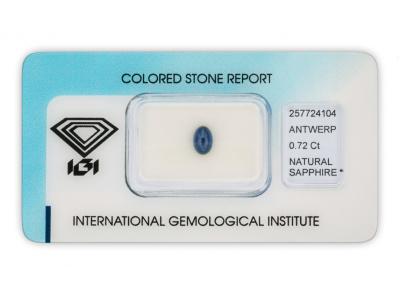 safír 0.72ct deep blue s IGI certifikátem