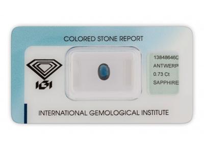 safír 0.73ct dark blue s IGI certifikátem