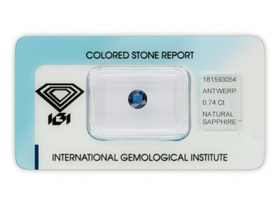 safír 0.74ct deep blue s IGI certifikátem