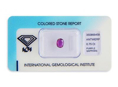 safír 0.75ct deep purple (tepelně neupraven) s IGI certifikátem