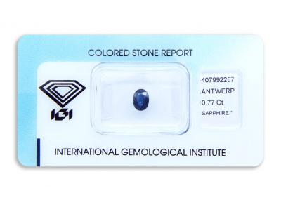 safír 0.77ct deep blue s IGI certifikátem