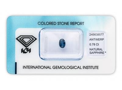 safír 0.78ct blue s IGI certifikátem
