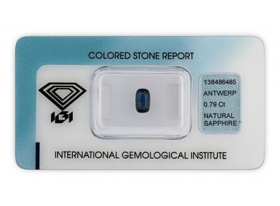 safír 0.79ct blue s IGI certifikátem