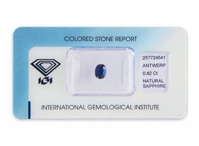 safír 0.82ct deep blue (tepelně neupraven) s IGI certifikátem