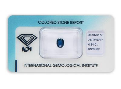 safír 0.84ct deep blue (tepelně neupraven) s IGI certifikátem