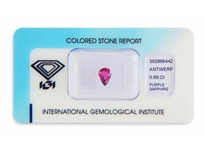 safír 0.89ct pinkish purple (tepelně neupraven) s IGI certifikátem