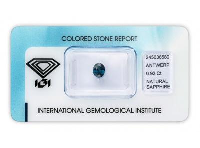 safír 0.93ct blue s IGI certifikátem