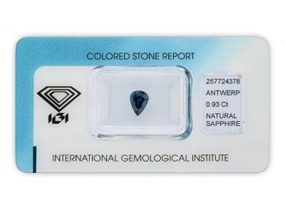 safír 0.93ct deep blue s IGI certifikátem