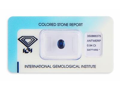 safír 0.94ct deep blue s IGI certifikátem