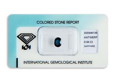 safír 0.94ct deep blue (tepelně neupraven) s IGI certifikátem