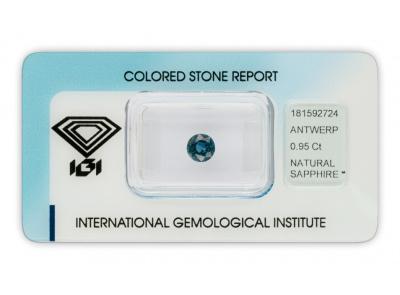 safír 0.95ct blue s IGI certifikátem
