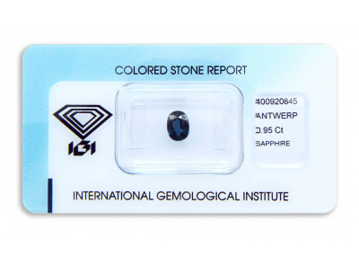safír 0.95ct blue (tepelně neupraven) s IGI certifikátem
