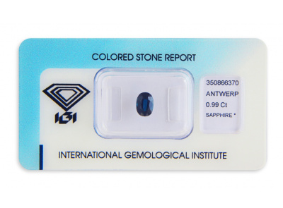 safír 0.99ct deep blue s IGI certifikátem